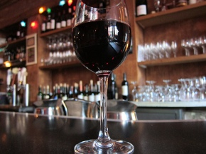 A glass of pinot noir from Blush Wine Bar