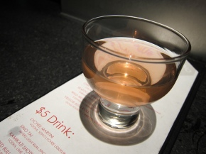 plum sake from the happy hour menu