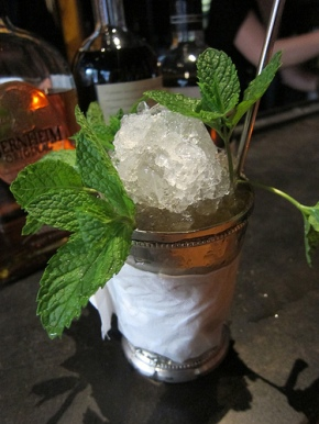 smoked peach mint julep
