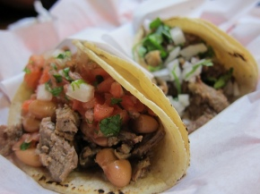 carne asada and lengua tacos