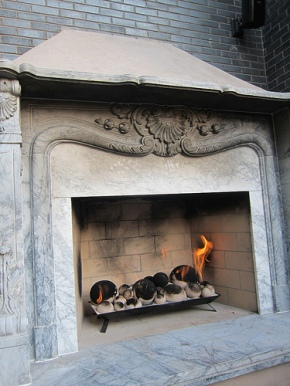 The Perch's outdoor fireplace