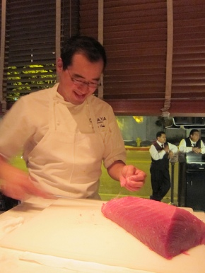 Chef Haru carving up tuna