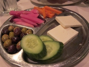 complimentary pickles and things at Carousel
