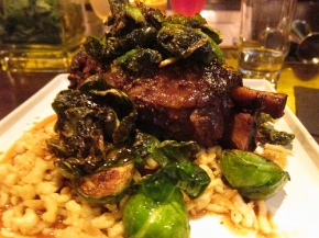 Kurobuta pork shank with spaetzle and Brussls Sprouts
