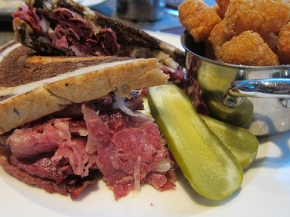 Reuben with truffled tater tots at the Henry