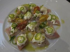 yellowtail, burrata, grape tomatoes