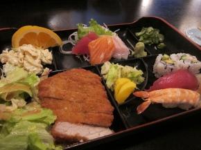 Combination C- tonkatsu with sushi, sashimi and California rolls