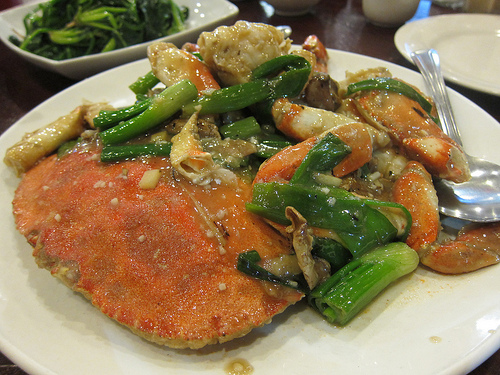 whole crab with ginger and green onions