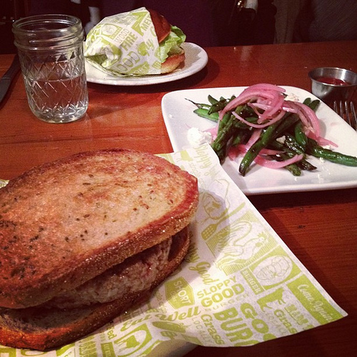 patty  melt and blistered green beans