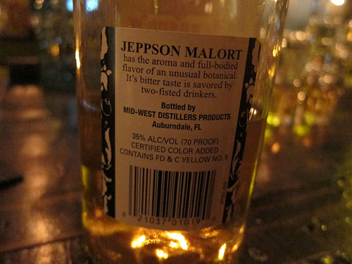 back label of the Malort