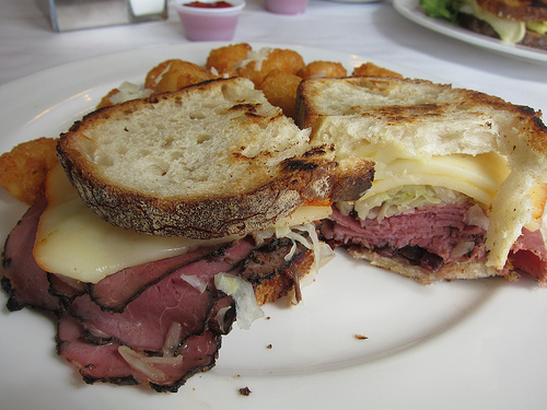 Reuben with tater tots