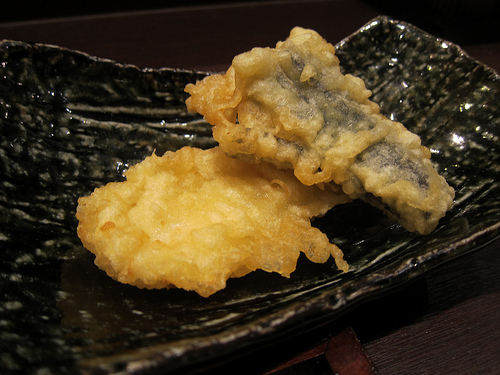 squid and eggplant tempura