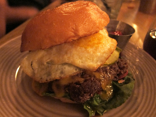 burger with fried egg