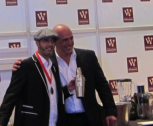 Call for Cocktails winner Ro Patel for Tyku Sake with MC Tony Abou-Ganim
