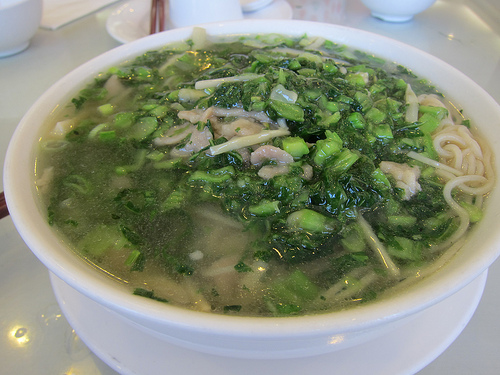 preserved cabbage and pork noodles soup