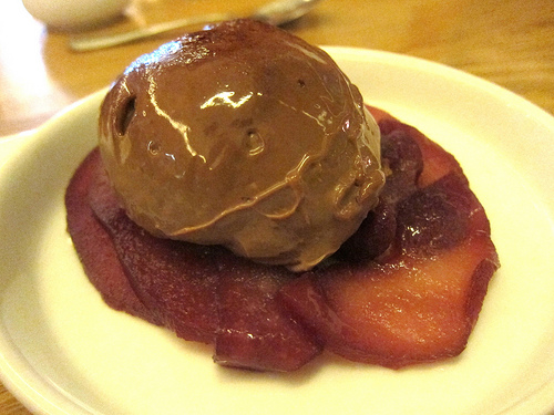 wine poached pears and hazelnut gelato