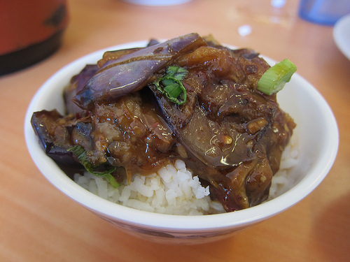 eggplant goes with the perfect bowl of rice
