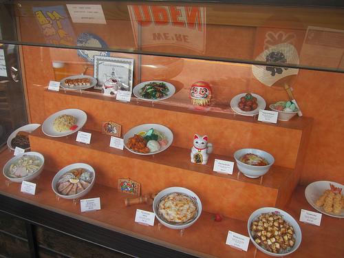 display of tempting plastic food