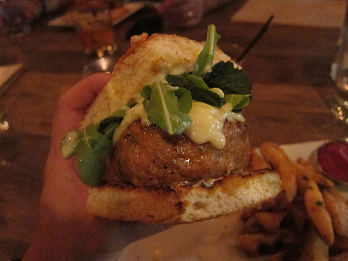 close up on pork burger