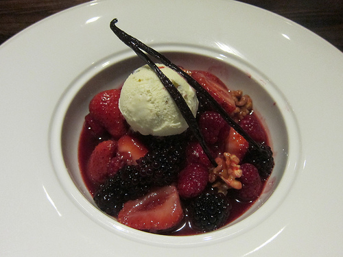berries in wine sauce