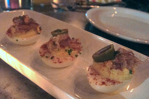deviled eggs with crispy pig ears