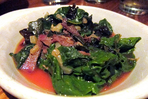 Swiss chard with tongue