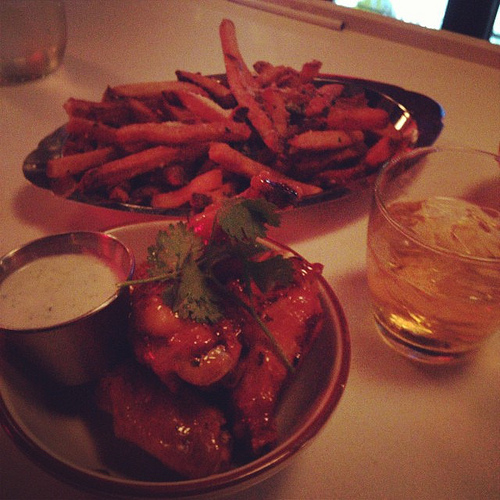 duck fat fries and wings at Punch Bowl