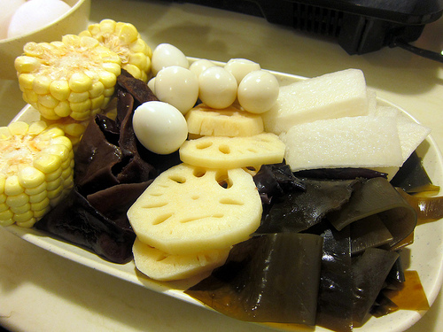 corn, wood ear mushroom, lotus, seaweed, daikon, quail eggs