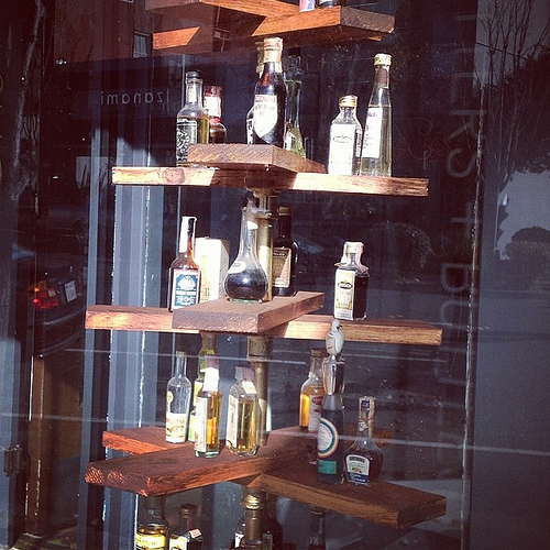 Bitters and Booze window display