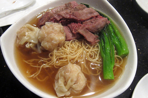 beef and wonton noodles soup