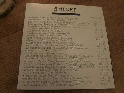 sherry list at TBD