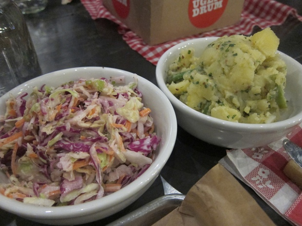 cole slaw and potato salad