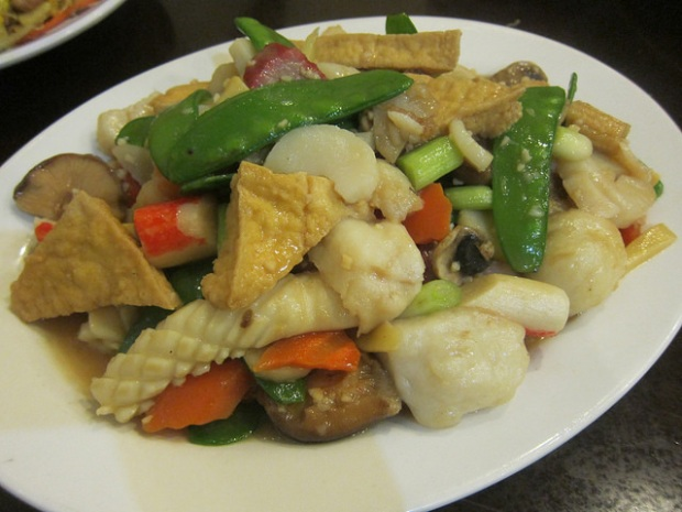 mixed seafood stir-fry