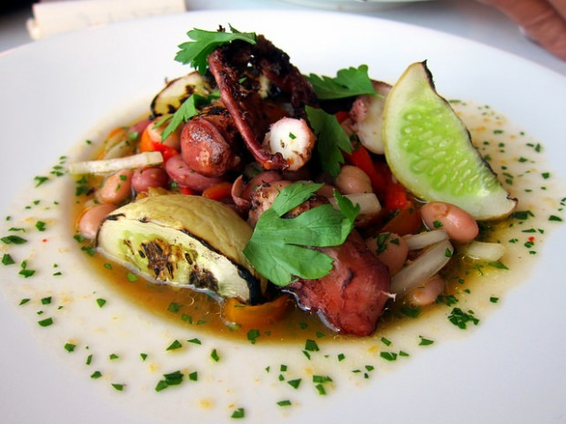 octopus with lemon cucumber