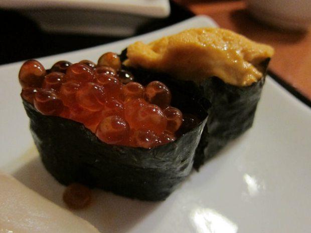 close up on sushi