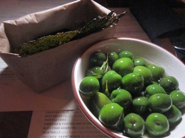 olives and kale chips