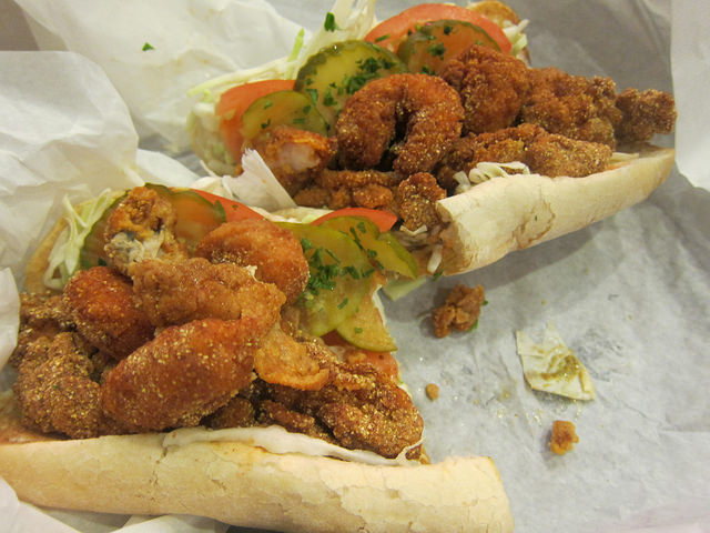 fried oyster and fried shrimp po boy