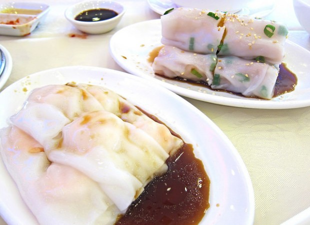 shrimp cheung fun and noodle wrapped crullers