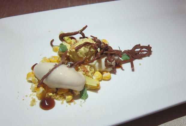 corn, brioche, chocolate from Chef Dominique Crenn