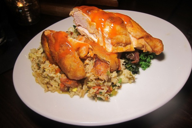 roast chicken with okra fried rice