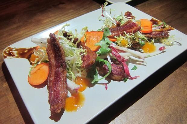 lamb bacon and persimmon salad