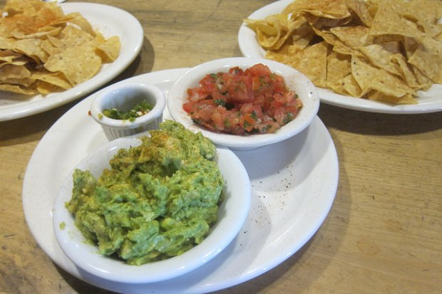guacamole, salsa, chips