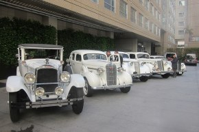 Vintage cars for the Plymouth Gin tour