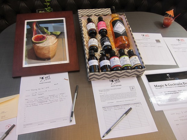 auction items including Miracle Mile bitters