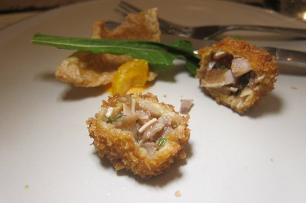 amuse bouche: sisig  chicharrone