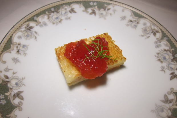 amuse bouche- grilled cheese with heirloom tomato jam