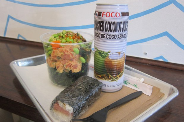 Big Poke, spam musubi and coconut water