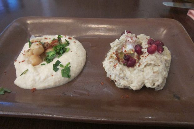 hummus and eggplant dips