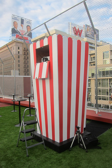 projector booth is a giant popcorn box!