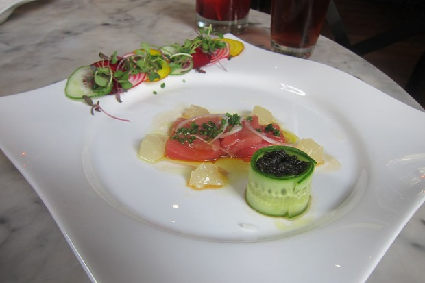 blue fin tuna with caviar